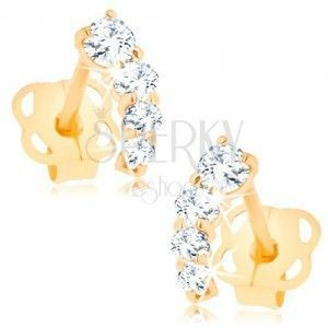 Brylantowe złote kolczyki 585 - lśniący łuk z bezbarwnych diamentów obraz