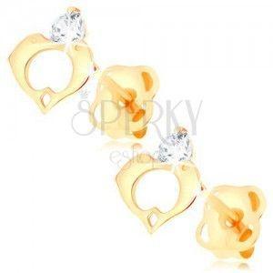 Kolczyki z żółtego 14K złota - bezbarwny diament, kontur serca z dwóch delfinów obraz