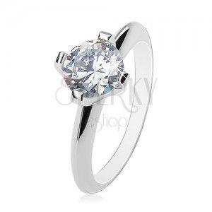 Zaręczynowy pierścionek - srebro 925, duży bezbarwny cyrkon, lśniące ukośne ramiona obraz
