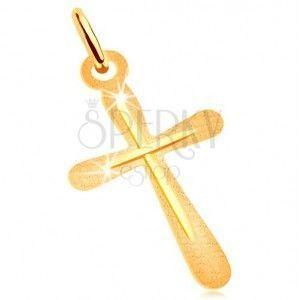 Zawieszka z żółtego złota 585 - płaski krzyż, lśniąca prążkowana powierzchnia obraz