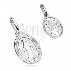 Zawieszka z białego 14K złota - owalny medalik z symbolem Maryi Panny obraz