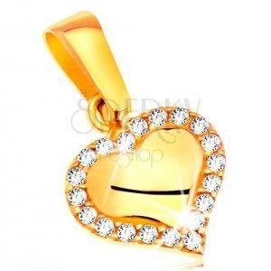 Zawieszka z żółtego złota 585 - lśniące serduszko z bezbarwnymi cyrkoniami obraz