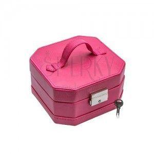 Różowe pudełko ze skóry ekologicznej 2 w 1, błyszcząca metalowa klamra obraz