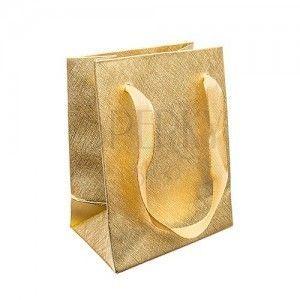 Torebka na upominek, błyszcząca siatkowa powierzchnia w kolorze złotym, wstążki obraz