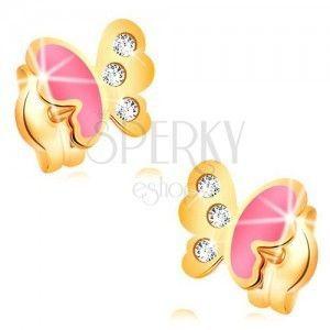 Kolczyki z żółtego 14K złota, motylik ozdobiony różową emalią i cyrkoniami obraz