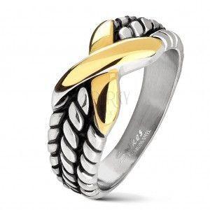 Stalowa obrączka srebrnego koloru, nacięcia na ramionach, X złotego koloru obraz
