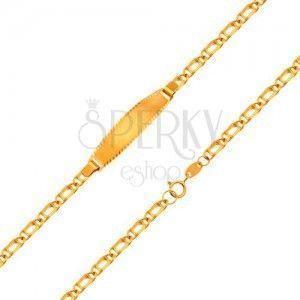 Bransoletka z płytką z żółtego 18K złota - łańcuszek z podwójnych ogniw, 160 mm obraz