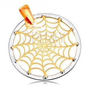 Złota 14K zawieszka - pajęczyna w konturze koła, żółte i białe złoto obraz