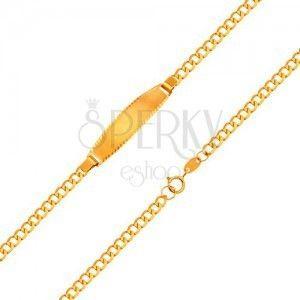 Bransoletka z matową płytką, 18K złoto - łańcuszek z owalnych oczek, 160 mm obraz