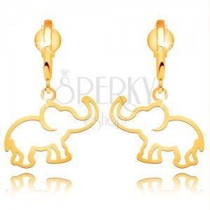 Kolczyki z żółtego 14K złota - kontur słonia wiszącego na błyszczącym łuku obraz