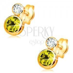 Kolczyki z żółtego 14K złota - okrągły zielony oliwin i przezroczysty cyrkon obraz