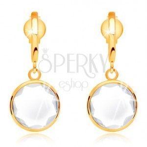 Złote 14K kolczyki - bezbarwny okrągły kryształ zawieszony na cienkim łuku obraz