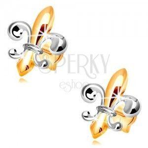 Kolczyki ze złota 14K - dwukolorowy symbol Fleur de Lis obraz