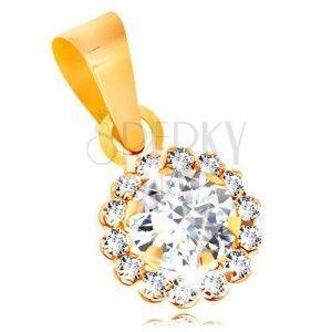 Zawieszka z żółtego 14K złota - błyszczący cyrkoniowy kwiatek bezbarwnego koloru obraz
