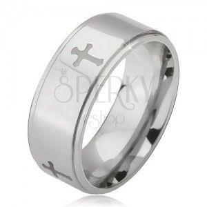Stalowy pierścionek srebrnego koloru, grawerowane krzyże i obniżone krawędzie, 6 mm obraz