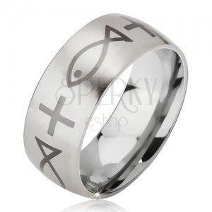 Matowy pierścionek ze stali chirurgicznej srebrnego koloru, nadruk krzyża i ryby, 6 mm obraz