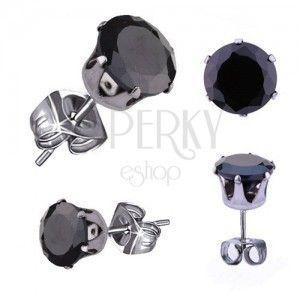 Stalowe kolczyki w srebrnym odcieniu, czarna okrągła cyrkonia, 5 mm obraz