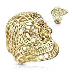 Masywny pierścionek ze stali 316L, lśniący złoty kolor, siatkowana czaszka obraz