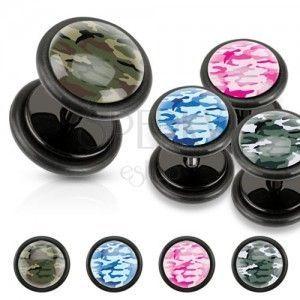Czarny akrylowy fałszywy plug, moro wzór, czarne gumki obraz