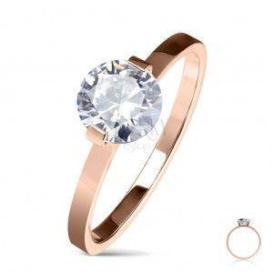 Stalowy pierścionek zaręczynowy w kolorze miedzi, okrągła bezbarwna cyrkonia, lśniące ramiona obraz