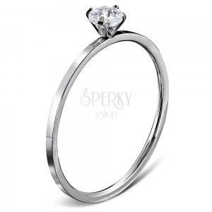 Zaręczynowy pierścionek ze stali 316L srebrnego koloru, okrągła bezbarwna cyrkonia obraz
