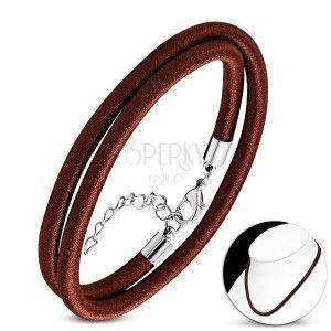 Naszyjnik owinięty błyszczącą nicią czekoladowo-brązowego koloru, karabińczyk obraz