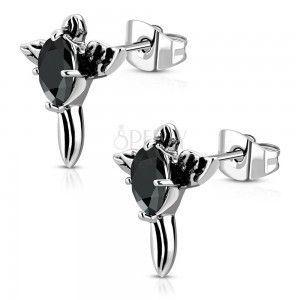 Stalowe kolczyki - patynowany krzyż z czarną cyrkonią i skrzydłami obraz