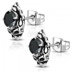 Stalowe kolczyki - patynowana czaszka z czarną oszlifowaną cyrkonią obraz