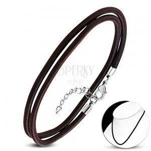 Naszyjnik brązowo-czarnego koloru, owinięty błyszczącą nicią, karabińczyk obraz