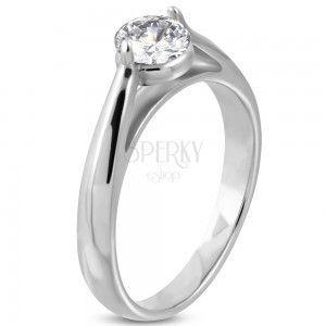 Zaręczynowy pierścionek, stal 316L srebrnego koloru, bezbarwna cyrkonia, zaokrąglone ramiona obraz
