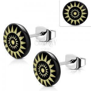 Kolczyki ze stali 316L, żółte słoneczne koła na czarnym tle obraz