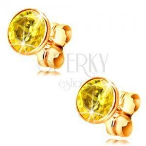 Kolczyki z żółtego 14K złota - oprawa z żółtą okrągłą cyrkonią, 5 mm obraz