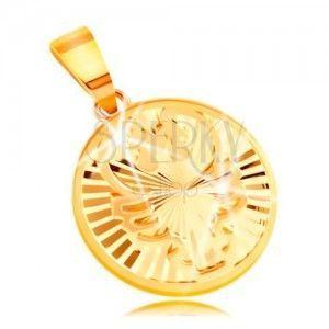 Zawieszka z żółtego 14K złota - lśniące koło z promienistymi wycięciami - RAK obraz