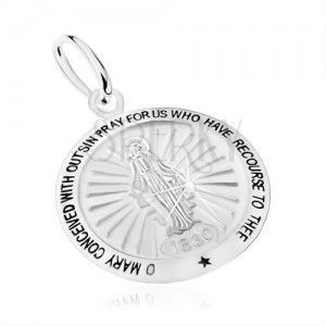 Wisiorek ze srebra 925, motyw cudownego medalika - Maryja Panna, modlitwa obraz