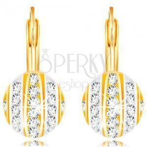 Złote 14K kolczyki - półkuleczka z paskami białego i żółtego złota, przezroczyste cyrkonie obraz