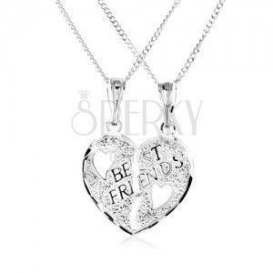 Naszyjnik ze srebra 925 - podwójny wisiorek, złamane serce, napis BEST FRIENDS obraz