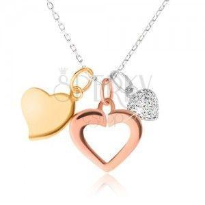 Srebrny naszyjnik - łańcuszek, trzy serduszka, złoty, srebrny i miedziany kolor obraz