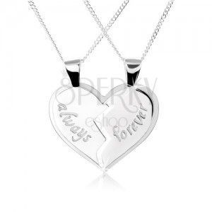 """Naszyjnik ze srebra 925, podwójny wisiorek - przepołowione serce, napisy """"always"""", """"forever"""" obraz"""