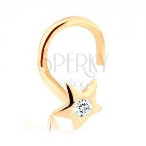 Złoty piercing do nosa 585 - błyszcząca gwiazdeczka z cyrkonią obraz