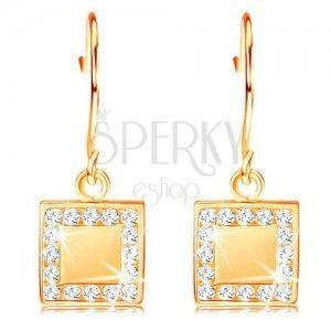 Złote diamentowe kolczyki 585 - płaski kwadrat z bezbarwnymi brylantami po obwodzie obraz
