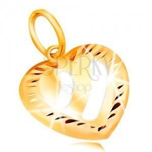 Złota zawieszka 14K - serce z ukośnymi pasami z białego złota, nacięcia po obwodzie obraz