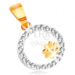 Zawieszka z dwukolorowego 14K złota - czterolistek w obręczy z bezbarwnych cyrkonii obraz