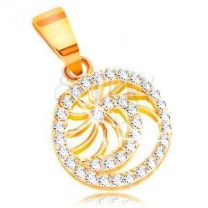 Złota zawieszka 585 - lśniąca spirala z bezbarwnych cyrkonii i cienkie błyszczące promienie obraz