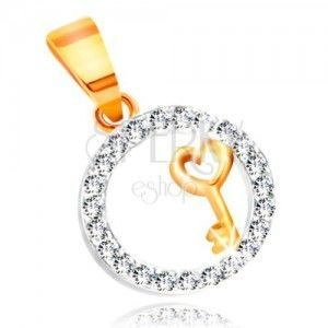 Zawieszka ze złota - kluczyk z sercem w obręczy z bezbarwnych cyrkonii obraz