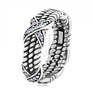 Patynowany srebrny pierścionek 925, motyw skręconej liny, krzyżyki z cyrkoniami obraz