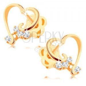 Brylantowe kolczyki z 14K złota - zarys serca z bezbarwnym diamentem obraz
