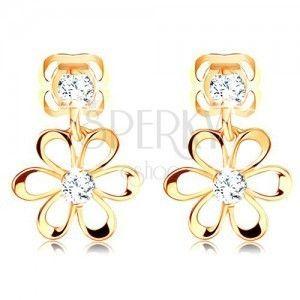 Diamentowe kolczyki w żółtym 14K złocie - kwiatek z zaokrąglonymi płatkami, bezbarwne brylanty obraz