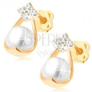 Złote brylantowe kolczyki 585 - cztery diamenty, kontur kropli z białą perłą obraz