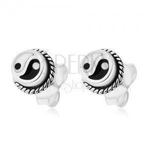 Okrągłe kolczyki, srebro 925, czarno-biały symbol Yin i Yang obraz
