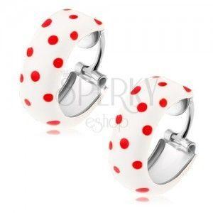 Okrągłe kolczyki ze srebra 925, biała emalia z czerwonymi kropkami obraz